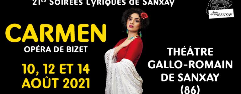 Affiche de Carmen opéra de Bizet au Festival Les Soirées Lyriques de Sanxay théâtre gallo romain Office de Tourisme Grand Poitiers VisitPoitiers